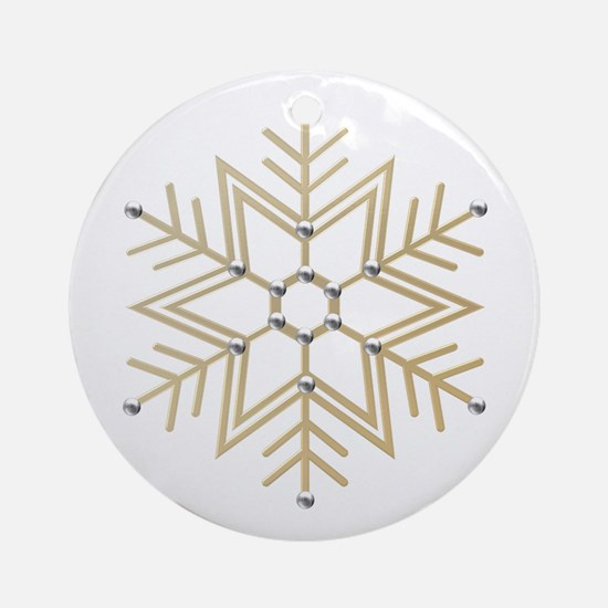 Gold and Silver Snowflake Ornament (Round)