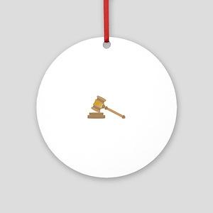 Judges Gavel Ornament (Round)