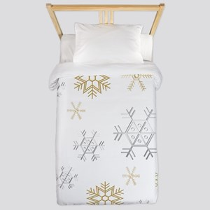 Silver and Gold Snowflakes Twin Duvet