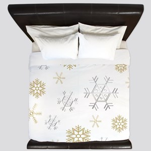 Silver and Gold Snowflakes King Duvet