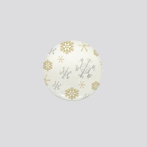Silver and Gold Snowflakes Mini Button