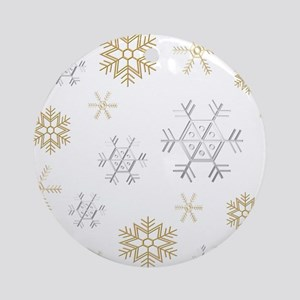 Silver and Gold Snowflakes Ornament (Round)