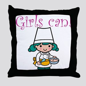 Girl Chef Throw Pillow