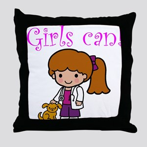 Girl Veterinarian Throw Pillow