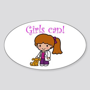 Girl Veterinarian Oval Sticker