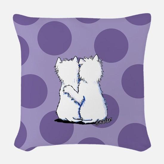 Hugging Westies Woven Throw Pillow