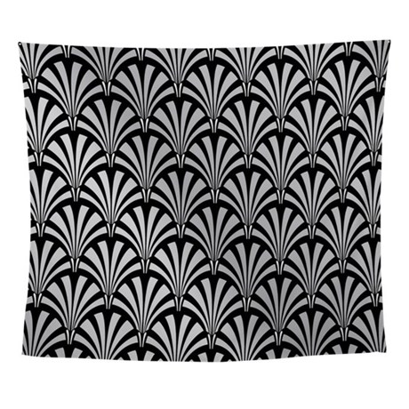 Elegant Black and Silver Art Deco Wall Tapestry