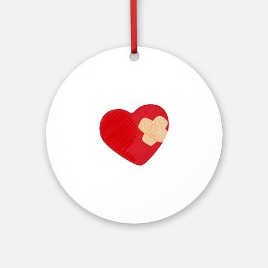 Heart Bandage Ornament (Round)