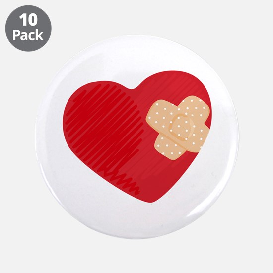 """Heart Bandage 3.5"""" Button (10 pack)"""
