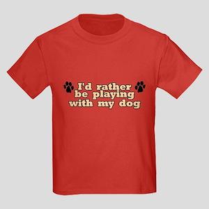 Playing W/ Dog Kids Dark T-Shirt