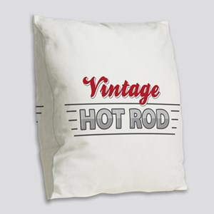 Vintage Hot Rod Burlap Throw Pillow