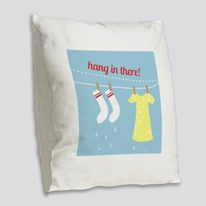 Hang In There Burlap Throw Pillow