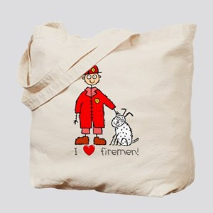 I Heart Firemen Tote Bag