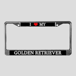 Love Golden Retriever License Plate Frame