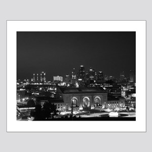 KC Union Station in Black and White Small Poster