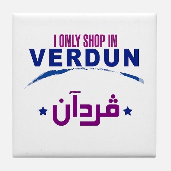 Shopping in Verdun   Tile Coaster