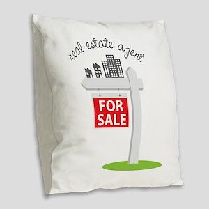 Real Estate Agent Burlap Throw Pillow