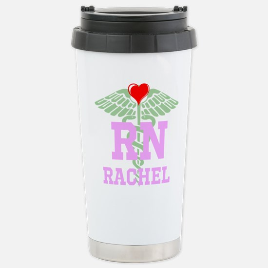 Personalized RN heart caduceus Travel Mug