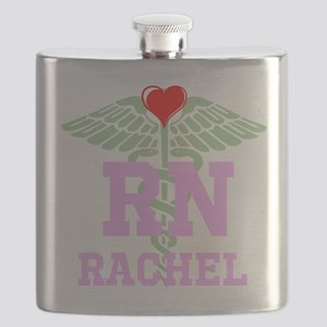 Personalized RN heart caduceus Flask