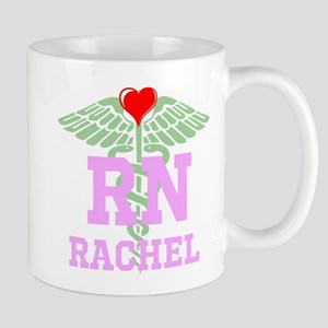Personalized RN heart caduceus Mugs