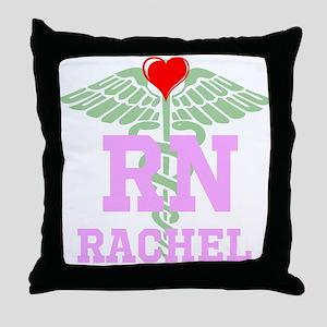 Personalized RN heart caduceus Throw Pillow