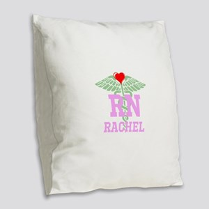 Personalized RN heart caduceus Burlap Throw Pillow