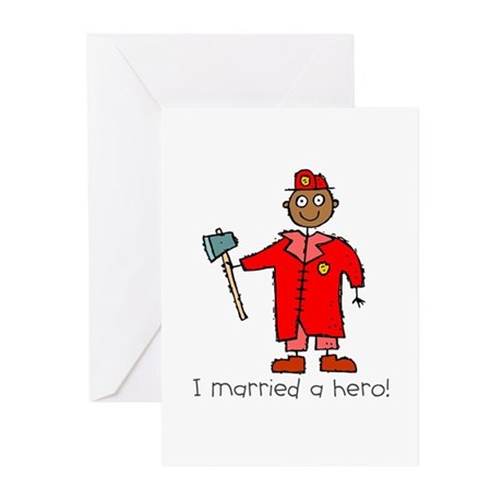 I Married a Black Fireman Greeting Cards (Package