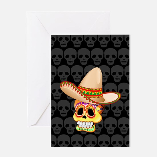 Mexico Sugar Skull with Sombrero Greeting Cards