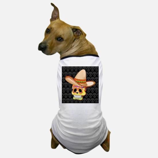 Mexico Sugar Skull with Sombrero Dog T-Shirt