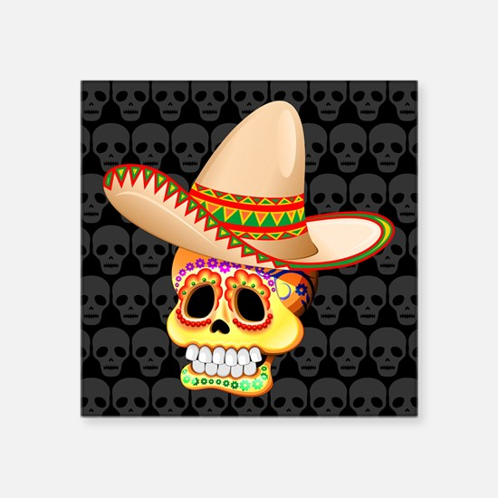 Mexico Sugar Skull with Sombrero Sticker
