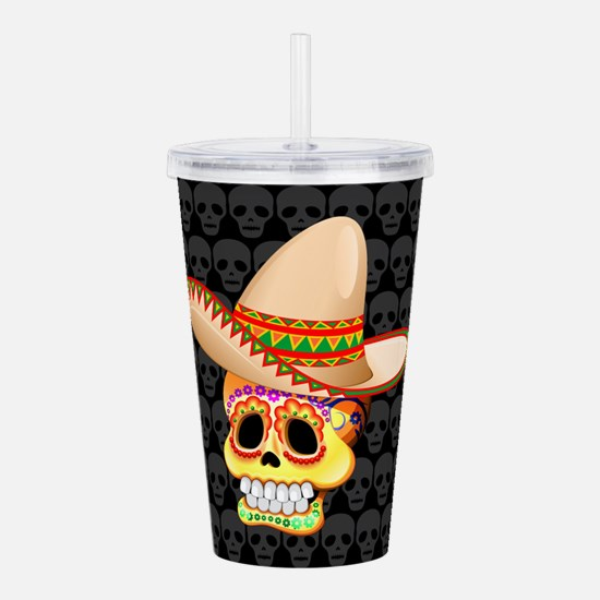 Mexico Sugar Skull with Sombrero Acrylic Double-wa