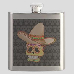 Mexico Sugar Skull with Sombrero Flask