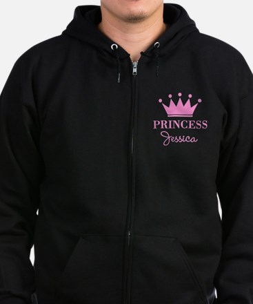 Personalized pink princess crown Zip Hoodie
