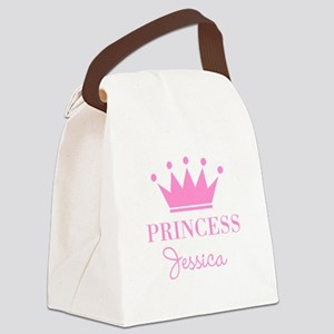 Personalized pink princess crown Canvas Lunch Bag