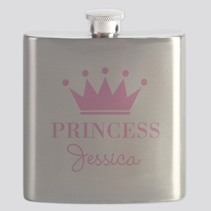 Personalized pink princess crown Flask