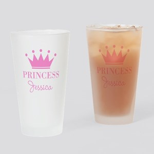 Personalized pink princess crown Drinking Glass