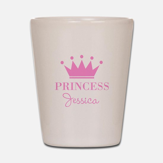 Personalized pink princess crown Shot Glass