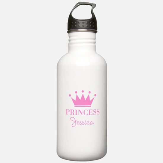 Personalized pink princess crown Water Bottle