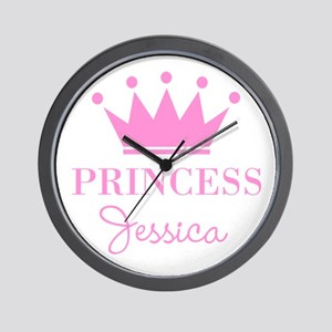 Personalized pink princess crown Wall Clock