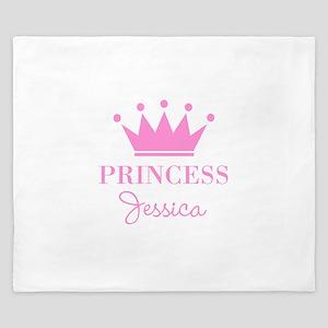 Personalized pink princess crown King Duvet