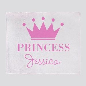 Personalized pink princess crown Throw Blanket