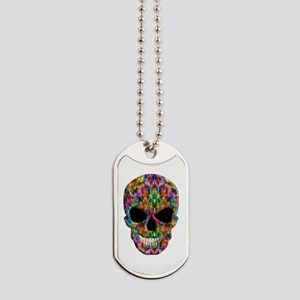 Colorful Fire Skull Dog Tags