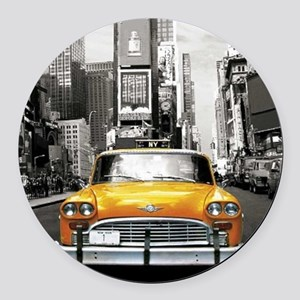 I LOVE NYC - New York Taxi Round Car Magnet