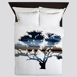 Blue Dawning Tree of Life Queen Duvet