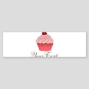 Personalizable Pink Cupcake Bumper Sticker