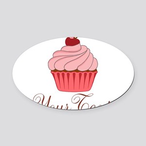 Personalizable Pink Cupcake Oval Car Magnet