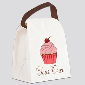 Personalizable Pink Cupcake Canvas Lunch Bag