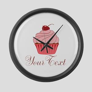 Personalizable Pink Cupcake Large Wall Clock