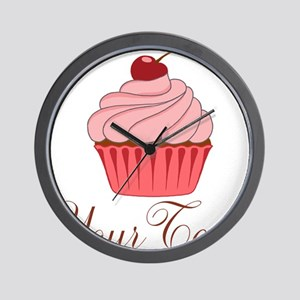 Personalizable Pink Cupcake Wall Clock