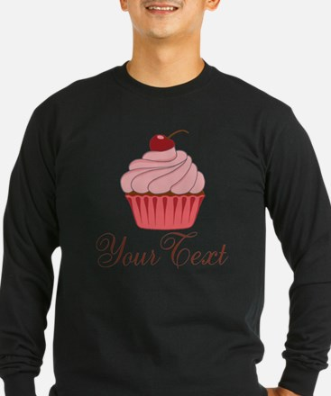 Personalizable Pink Cupcake Long Sleeve T-Shirt